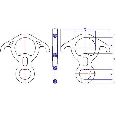 Спусковое устройство Вертикаль Восьмерка рогатая большая дюраль