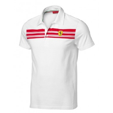 Поло FERRARI Striped Polo белая